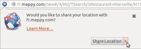 Consent request on Firefox for geolocation