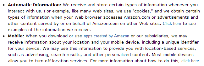 Personal data collected by Amazon