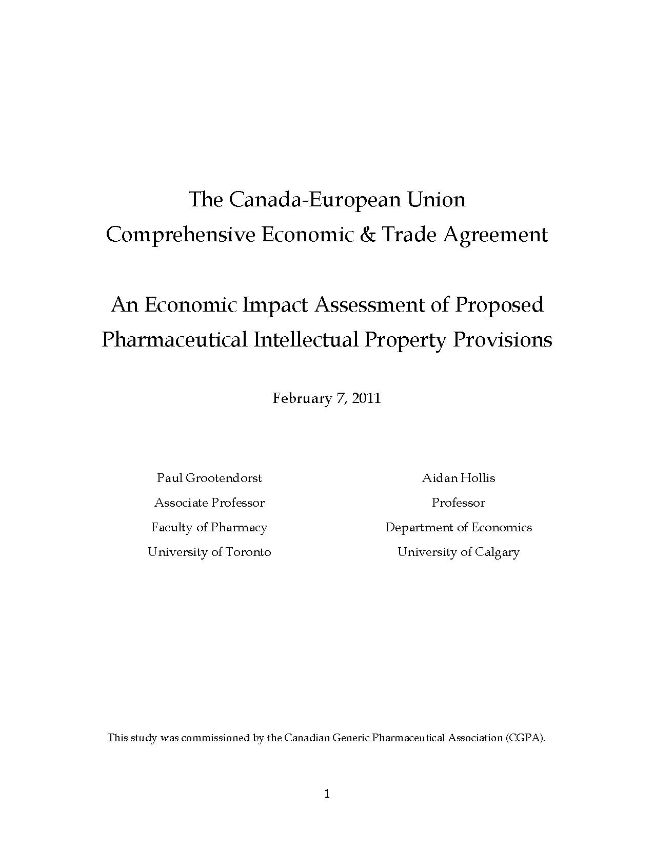 CETA-20110702-Economic Impact Assessment of Proposed Pharmaceutical Intellectual Property Provisions.pdf