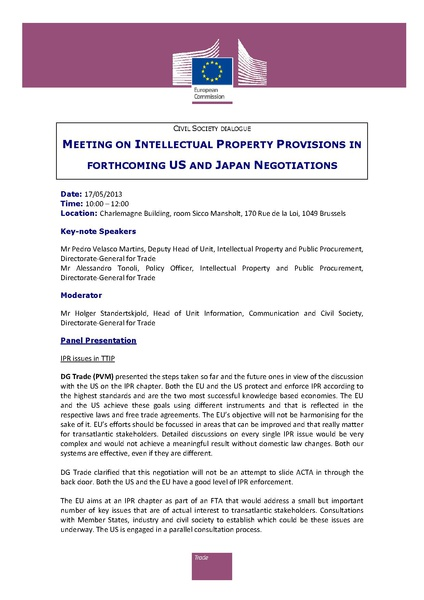 Fichier:TAFTA - Meeting on intellectual property provisions in forthcoming US and Japan negotiations.pdf
